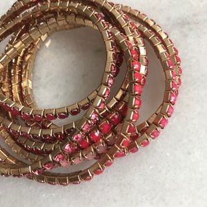 Pink and gold rhinestone stacking bracelets